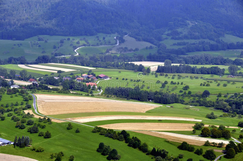Download Countryside stock image. Image of houses, fields, hills - 15696073