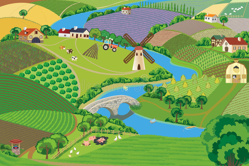 Countryside. Panoramic view of a village - vector illustration stock illustration