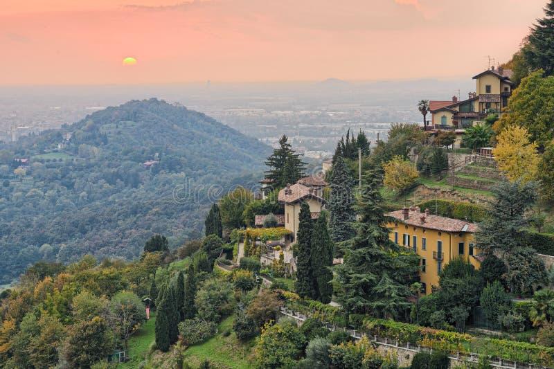 Countryside by Bergamo, Lombardy, Italy, Europe. Sun setting over the countryside outside Bergamo, Lombardy, Italy, Europe stock image
