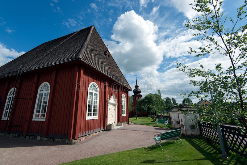 Countryside chapel in Sweden. Borlange, Sweden – July 2, 2013: Amsberg Chapel on a sunny summer's day. The chapel was built in 1683 and houses a famous royalty free stock photography