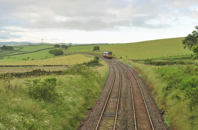 Countryside commuter train, Yorkshire Dales stock photos