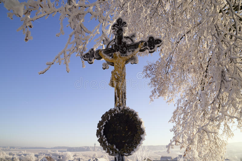 Download Countryside Crucifix In Winter Stock Image - Image: 83709871
