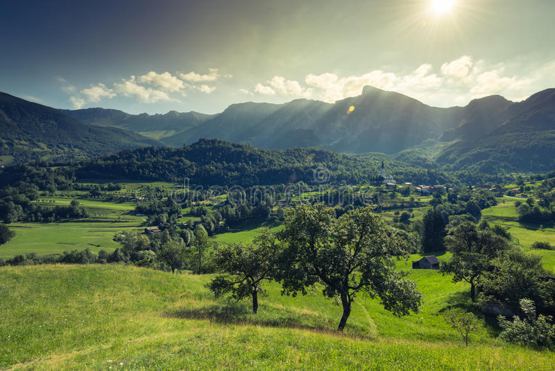 Countryside and Dreznica village in Julian Alps,Slovenia.  stock images