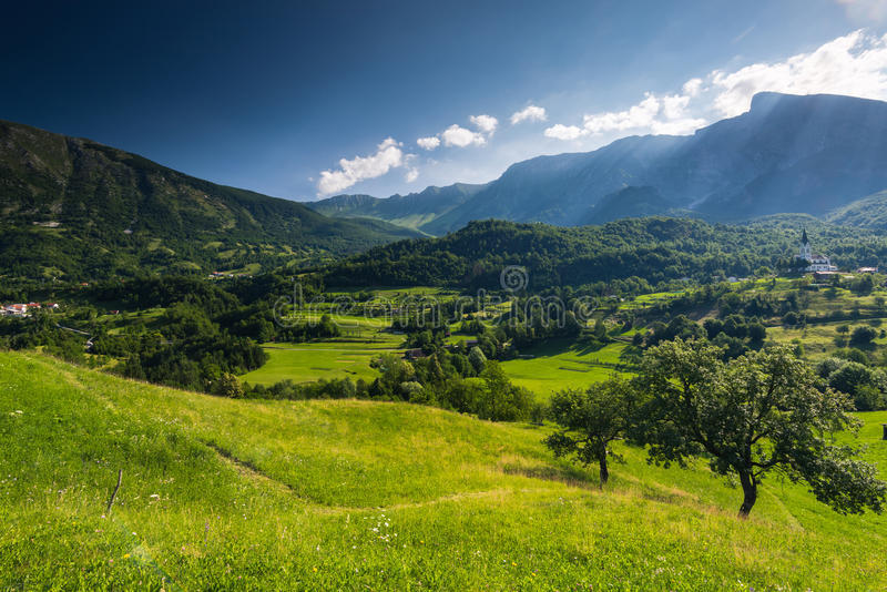 Countryside and Dreznica village in Julian Alps,Slovenia.  stock photography