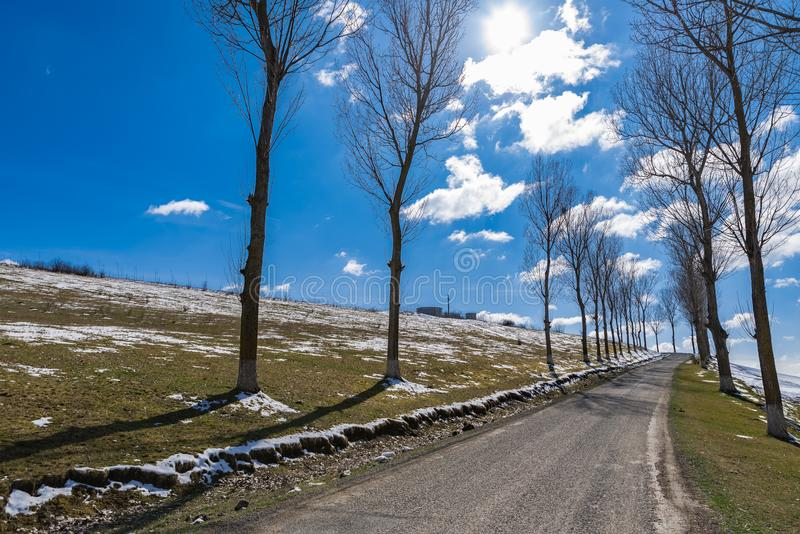 Countryside empty Forgotten Road spring time royalty free stock photography