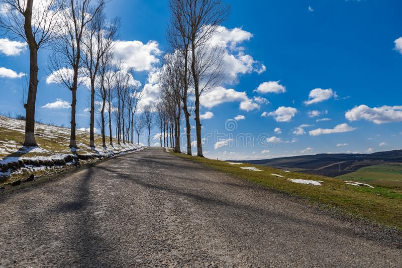 Countryside empty Forgotten Road spring time stock images