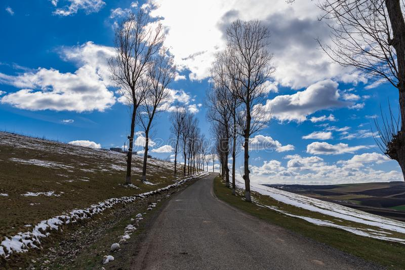 Countryside empty Forgotten Road spring time stock photography