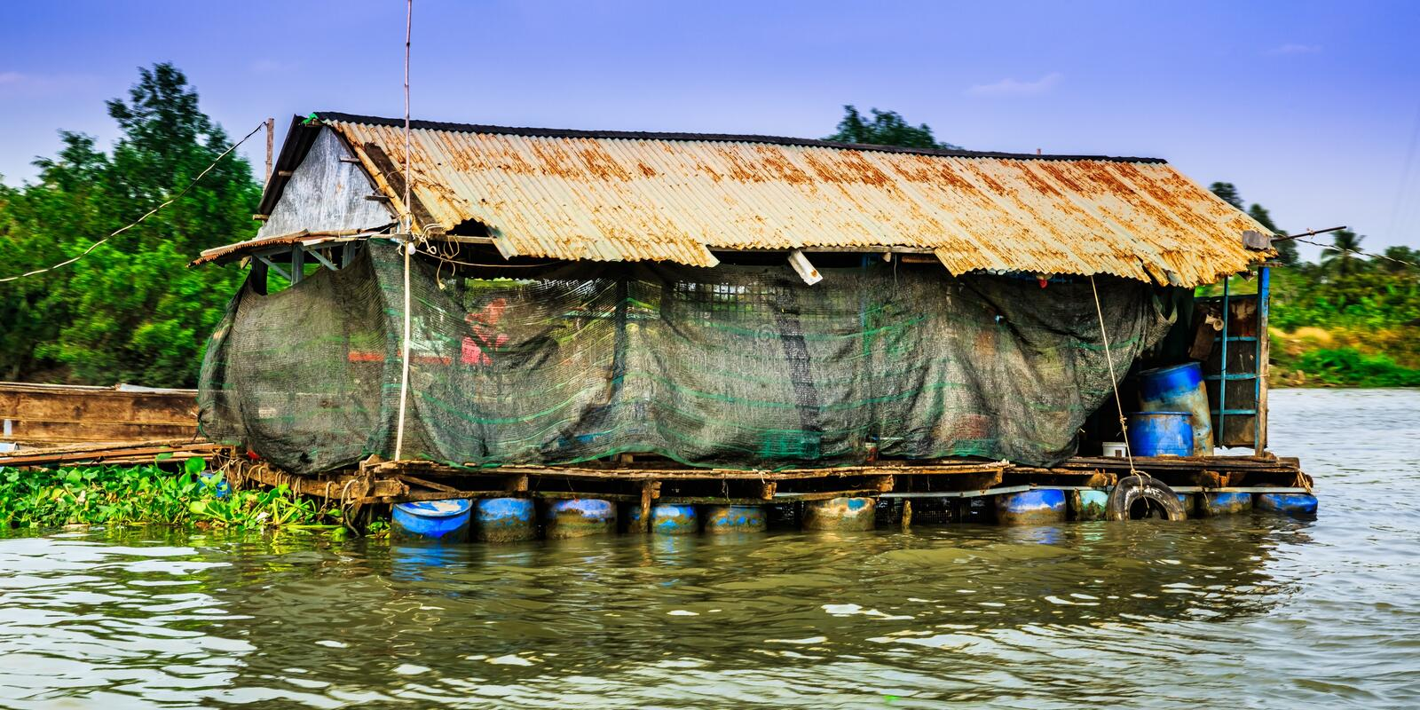 Countryside, floating house, South of Vietnam royalty free stock photography