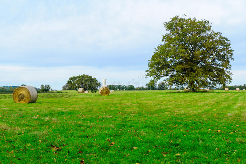 Countryside and haystack in Nievre royalty free stock photography