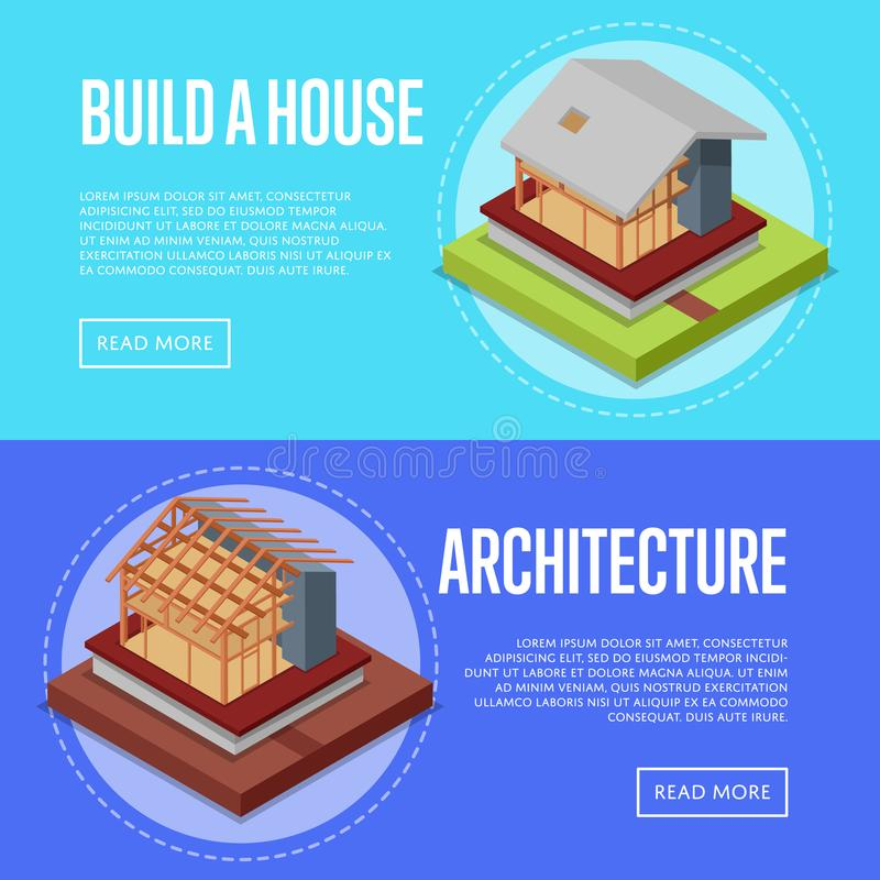 Countryside house architecture posters set. Countryside house architecture posters. House framework construction, walls and roof installation vector illustration stock illustration