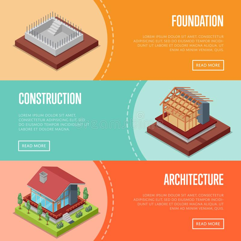 Countryside house building posters set. Countryside house building posters. Land preparation under building, foundation pouring, construction of walls, roof royalty free illustration