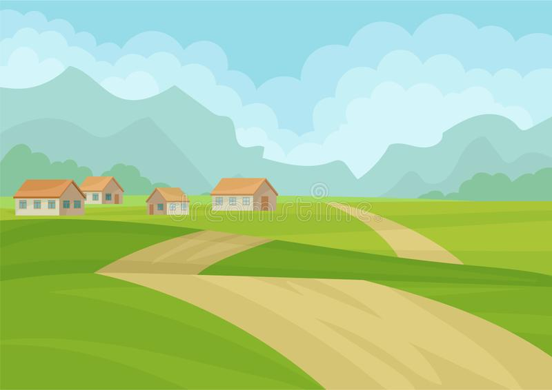 Natural landscape with houses, ground road, green meadows and mountains on background. Flat vector design royalty free illustration