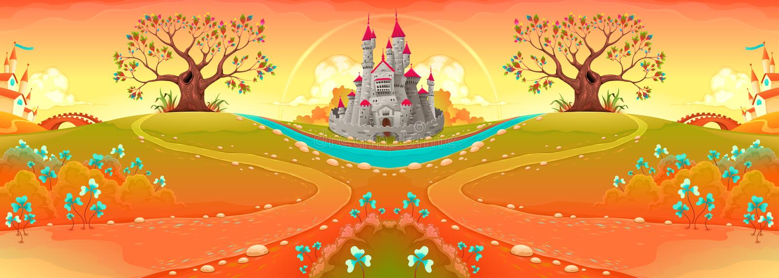 Countryside landscape with castle in the sunset stock illustration