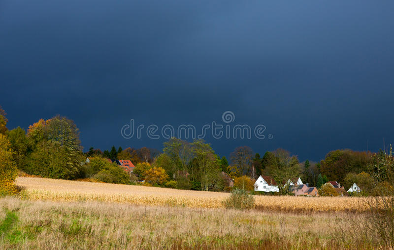 Countryside Landscape Before Thunderstorm Stock Photo
