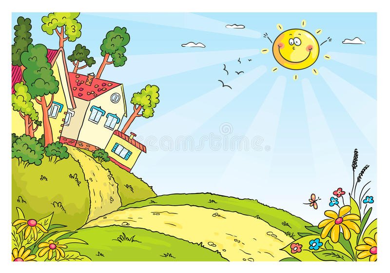 Countryside landscape with hills and houses stock illustration