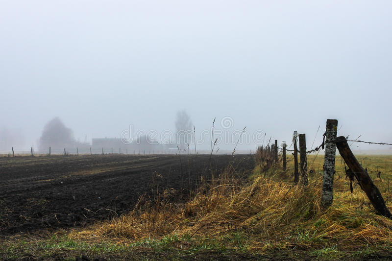 Countryside landscape. Homestead mist and an old fence royalty free stock photography