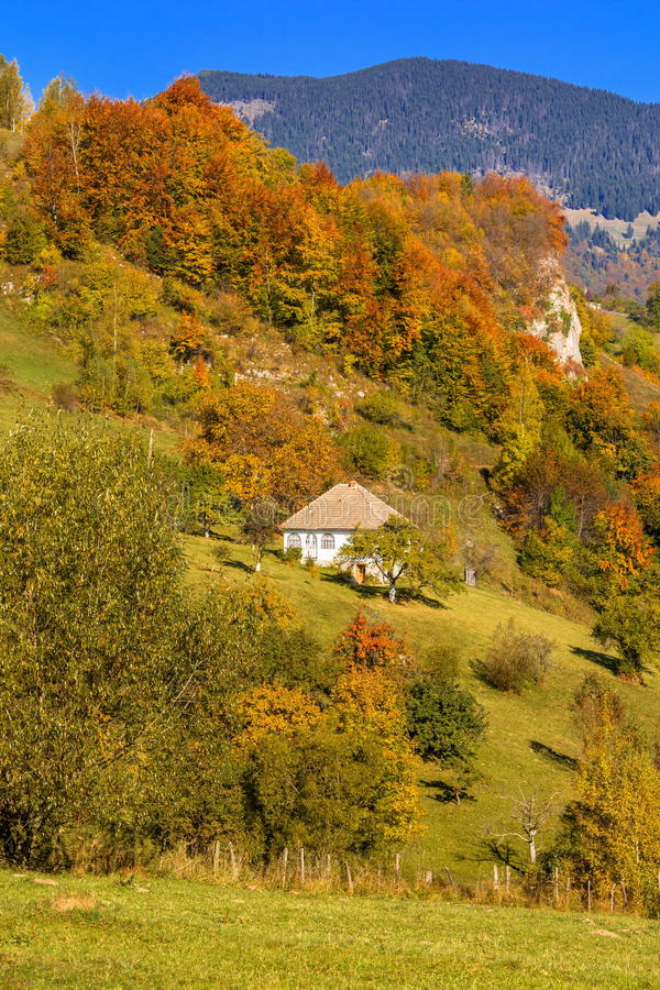 Countryside landscape in a romanian villlage. At the food of Piatra Craiului Mountains stock photos