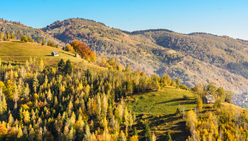 Countryside landscape in a romanian villlage. At the food of Piatra Craiului Mountains royalty free stock images