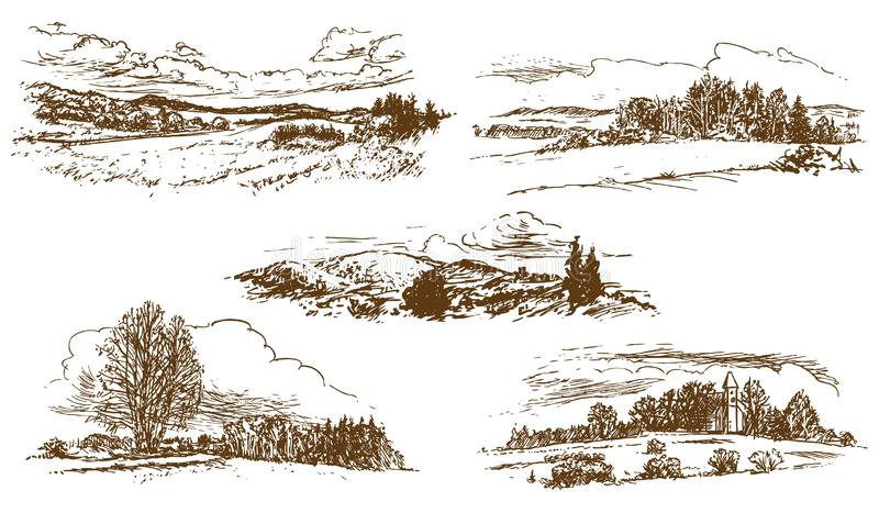 Countryside landscape, set of hand-drawn illustrations, drawing on white background. Vector vector illustration