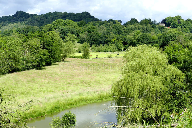 Countryside landscape. A view of the Derbyshire countryside taken from a canal towpath stock images