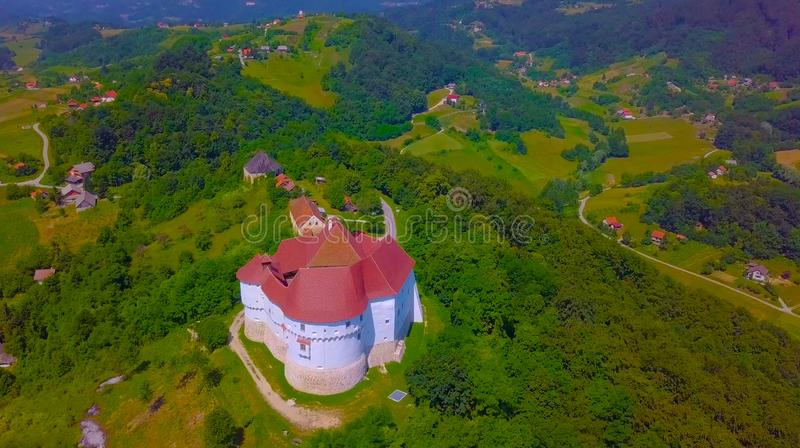 Countryside landscape with vineyard and old castle Veliki Tabor on hill, Zagorje, Croatia 2019 royalty free stock image