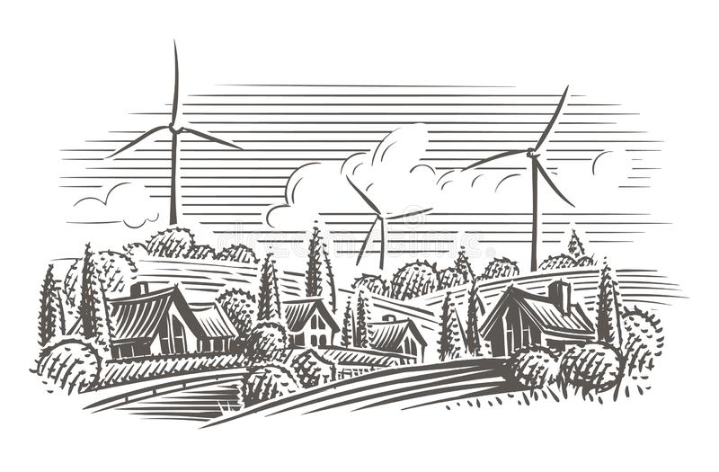 Countryside landscape with wind turbines on the background engraving style illustration. Vector. Layered royalty free illustration