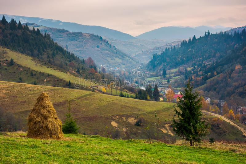 Countryside in mountains on a gloomy day royalty free stock photo