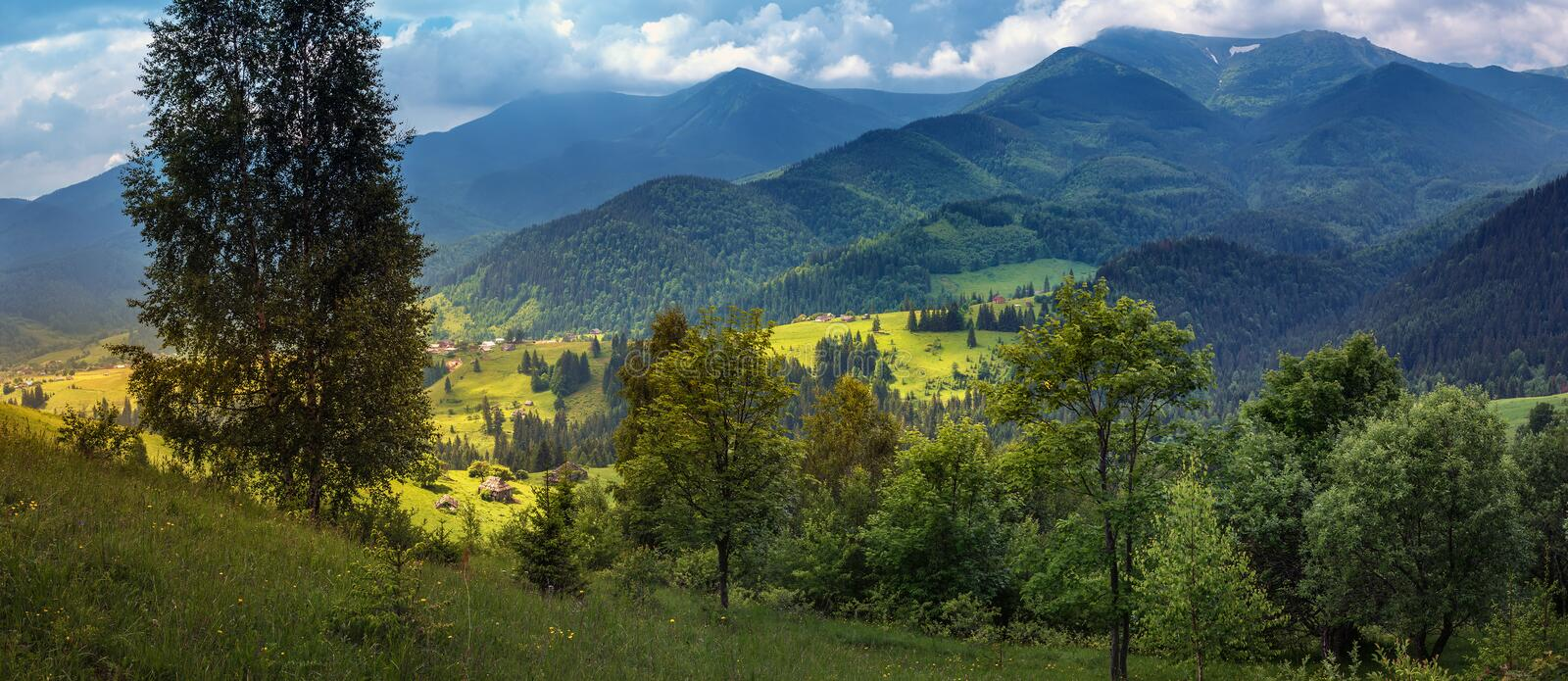 Countryside panorama of Carpathian mountains in western Ukraine. Highland hills stock photography