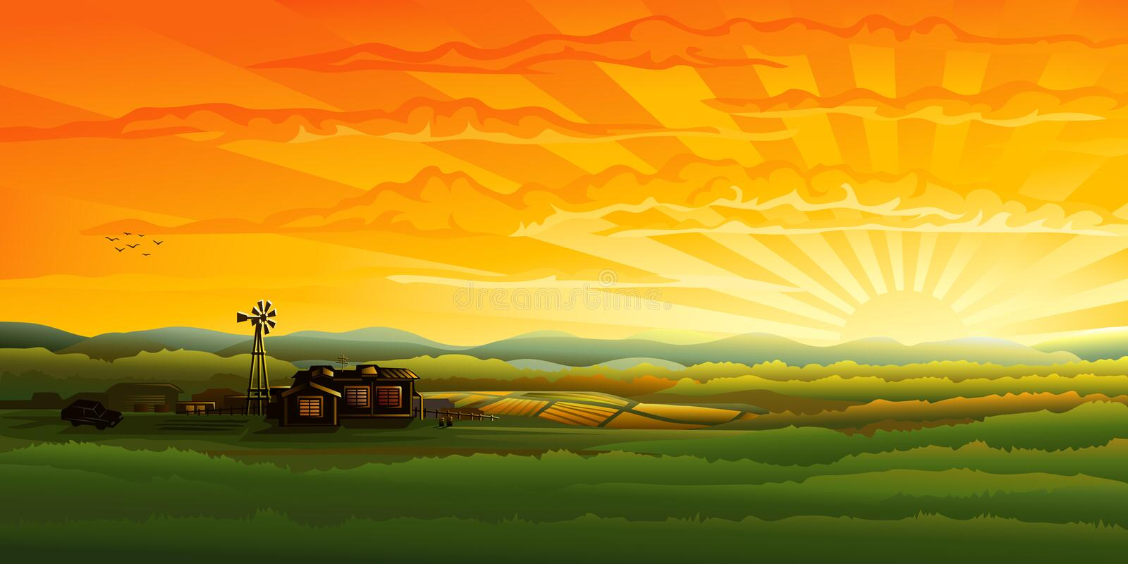 Countryside panorama in the evening royalty free illustration