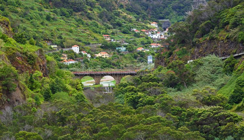 Countryside river and bridge close to Faial in northern Madeira. royalty free stock image