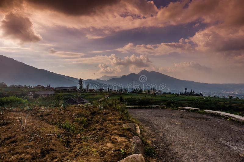 Countryside road with dramatic sky stock images