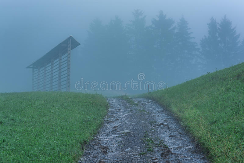 Countryside road leading to mountains in Slovenia royalty free stock photography