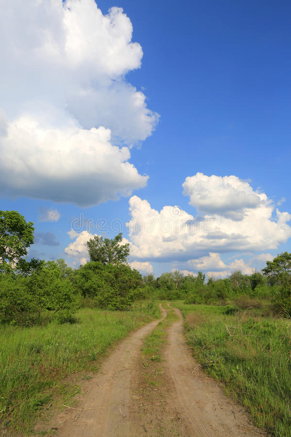 Countryside road in steppe stock image