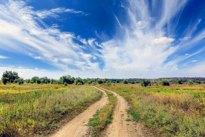 Countryside road in steppe royalty free stock photos