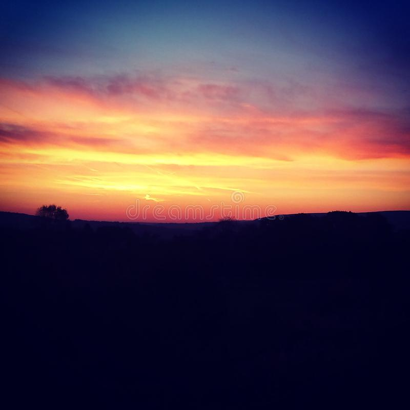 Countryside sunset stock photography