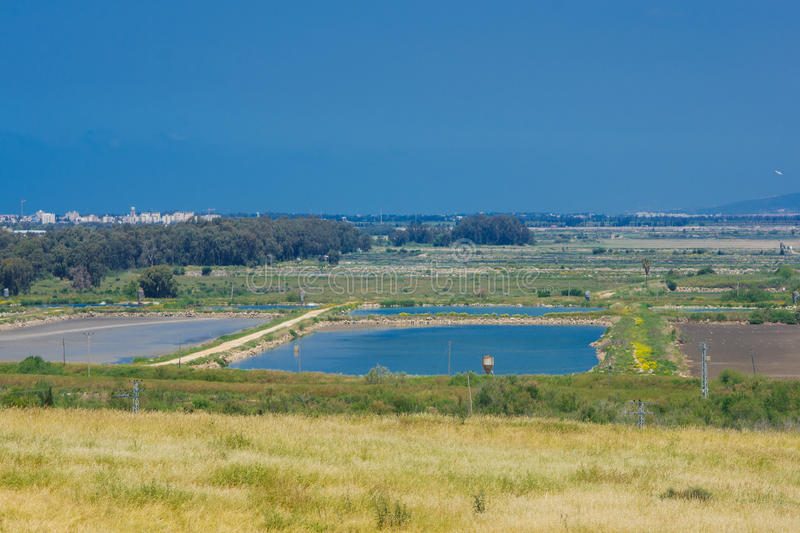 Countryside, Tel Afek. Countryside and fish growing pools, viewed from Tel Afek, northern Israel royalty free stock images