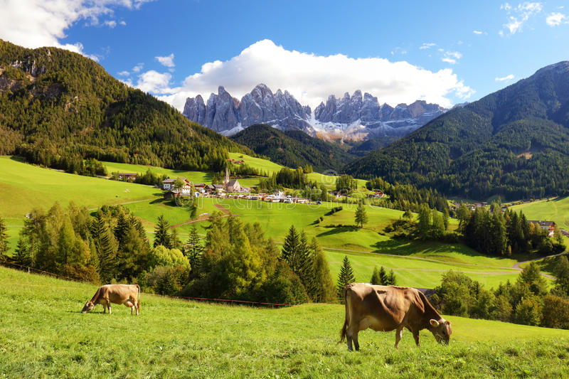 Countryside view of the Funes valley, Bolzano, Italy. Countryside view of the Funes valley, Bolzano, Italy, Europe royalty free stock photography