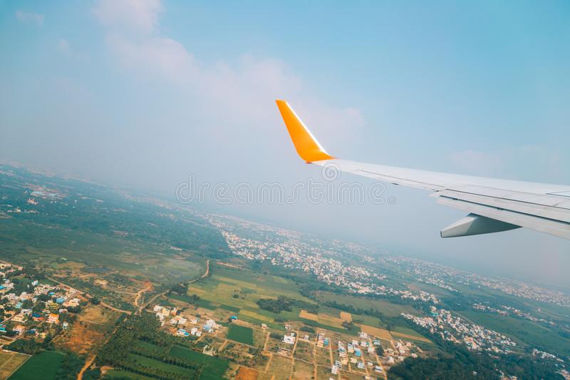 Countryside village view from airplane in Trichy, India. Asia stock photography