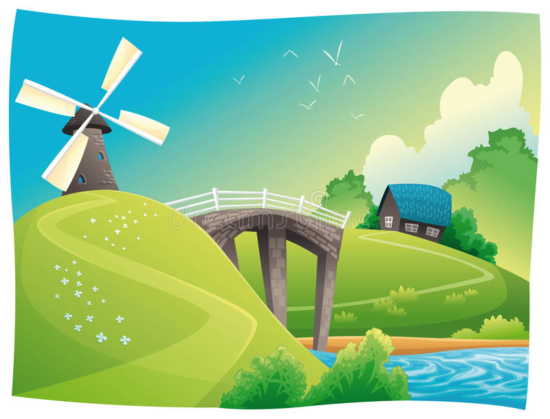 Countryside with windmill. Vector and cartoon landscape. Objects isolated