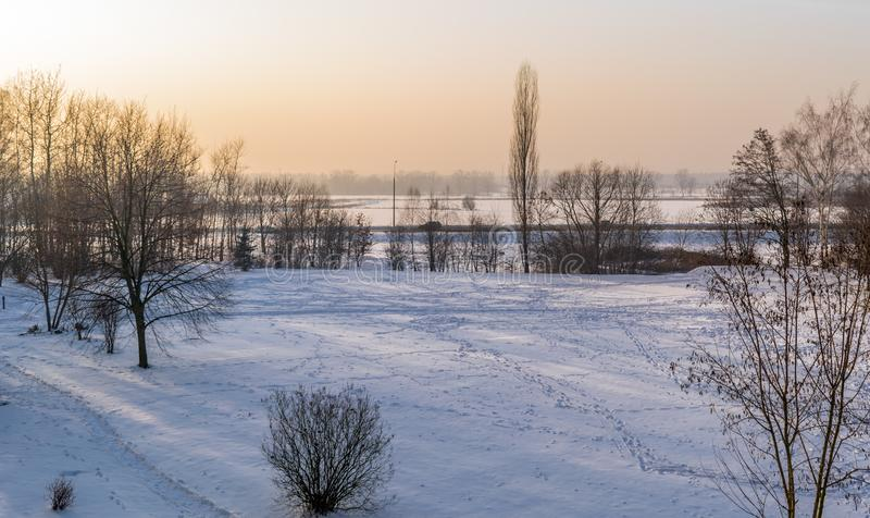 Countryside winter view during the sunset. royalty free stock images