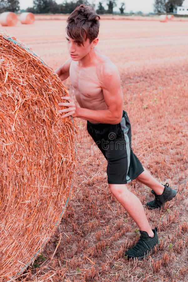 Countryside workout at sunset hight contrast style image royalty free stock photography