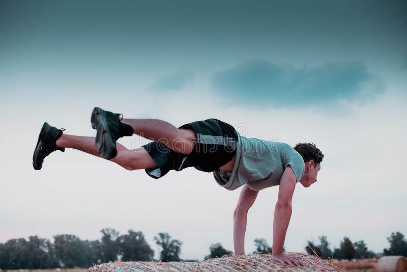 Countryside workout at sunset hight contrast style image stock photo