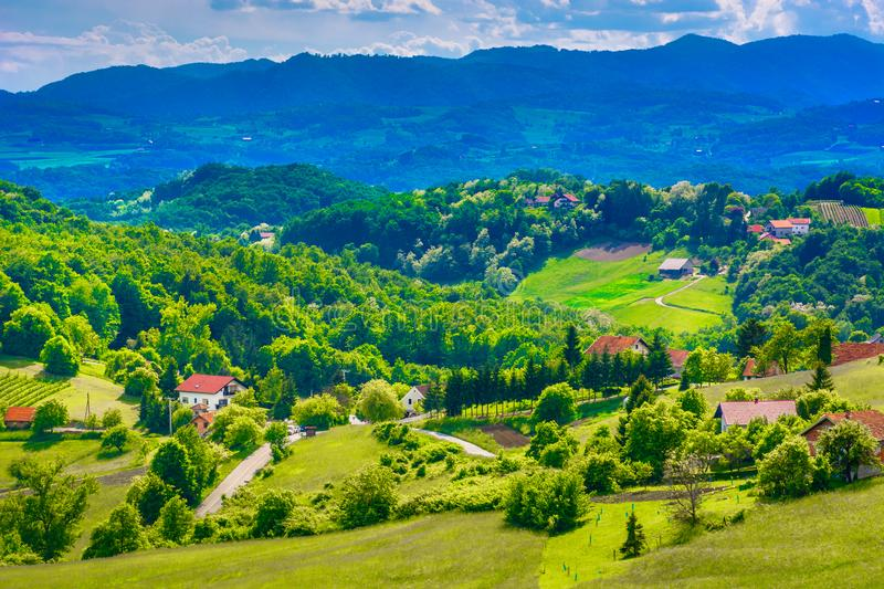 Countryside in Zagorje, Croatia. Aerial view at picturesque scenery in Northern Croatia, Zagorje countryside stock images