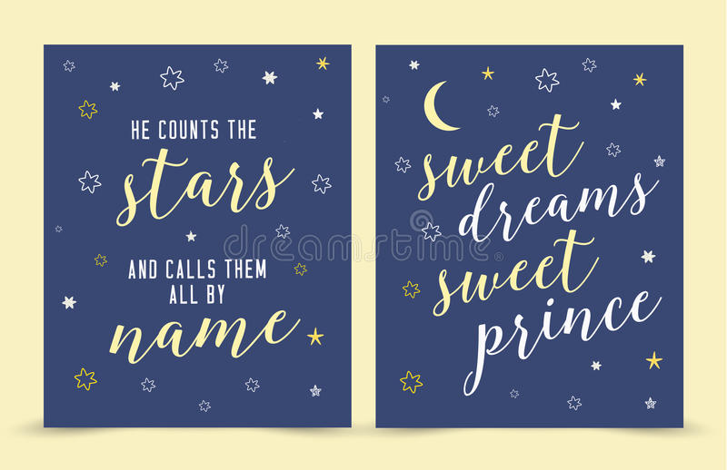 He Counts the Stars and Calls them By Name; sweet dreams sweet prince!. Bible scripture Verse Nursery Art Print Vector Art Printable Set with hand-drawn moon royalty free illustration