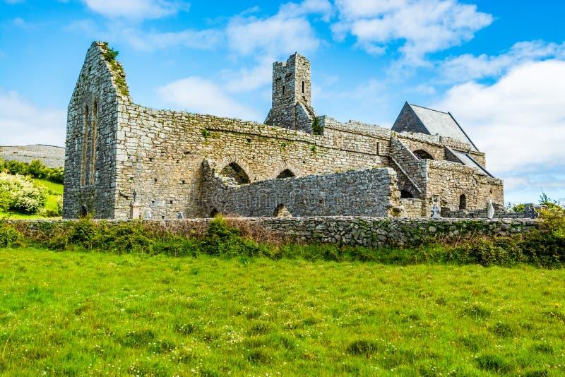 Corcomroe Abbey Ruins in Burren region of County Clare, Ireland stock photo