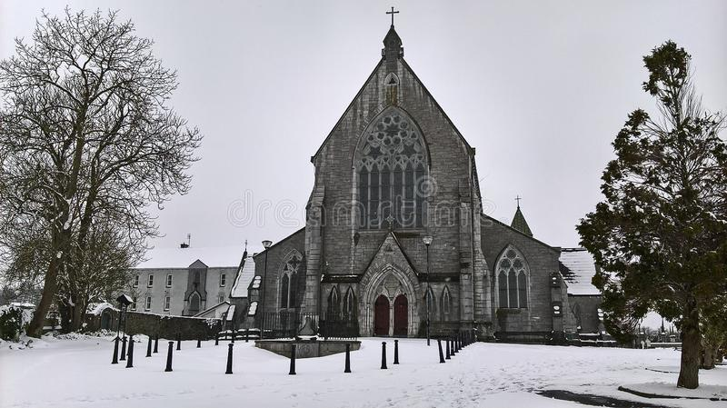 03/03/2018. Storm Emma in Ireland. County Cork. Kanturk. Snow in the Immaculate Conception Parrish church stock images