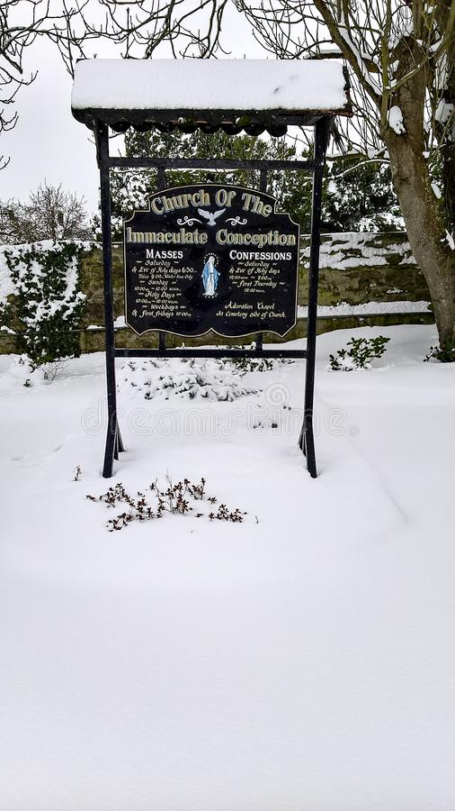 03/03/2018. Storm Emma in Ireland. County Cork. Kanturk. Snow in the Immaculate Conception Parrish church royalty free stock photography