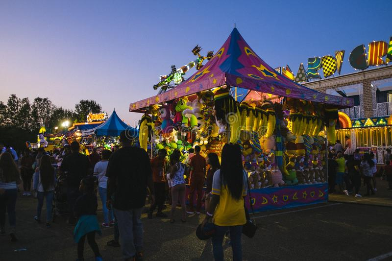 County Fair at night, Games on the midway royalty free stock image