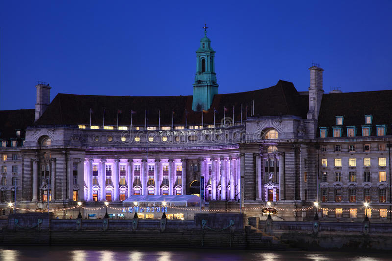 County Hall at night, London stock photography