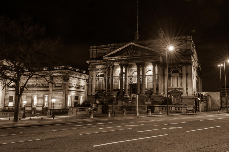 County Sessions House by night. ENGLAND, LIVERPOOL - 15 NOV 2015: County Sessions House by night stock photos
